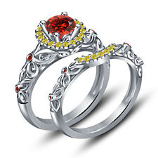 925 Sterling Silver Multi Color CZ Marvelous Hero Iron Man Inspired Bridal Set
