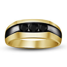 Round Black CZ 14k Yellow Gold Plated 925 Sterling Silver Mens Wedding Band Ring