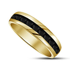 14k Yellow Gold Plated Round Cut Black CZ 925 Silver Men's Wedding Band Ring