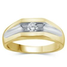 14k Gold Plated 925 Sterling Silver Round Cut CZ Men's Wedding Band Engagement