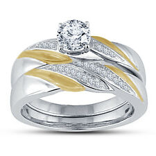 Two Tone Plated 925 Sterling Silver Round Cut CZ Ladies Wedding Bridal Set