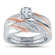 Two Tone Plated Solitaire Round Cut 925 Sterling Silver Bridal Wedding Ring Set