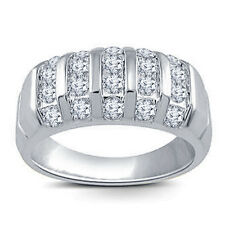 Platinum Plated 925 Sterling Silver Men's Round Cut CZ Wedding Band Ring