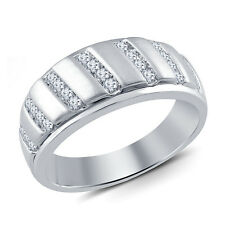 Platinum Plated 925 Sterling Silver Men's Round CZ Wedding Band Engagement Ring