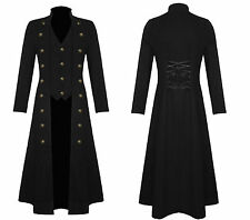 Mens SteamPunk Halloween Black Coat Gothic Military Long Trench VTG Coat Jacket