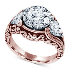 14K Rose Gold Plated 925 Sterling Silver Round Classic CZ Ladies Engagement Ring