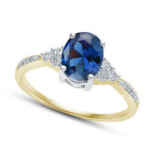 14k Gold Plated Blue Oval CZ 925 Sterling Silver Ladies Wedding Engagement Ring