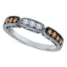Round Brown And White CZ 925 Sterling Silver Platinum Plated Wedding Womens Band