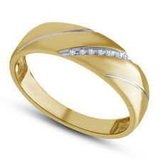 925 Sterling Silver 14K Gold Plated Men's Round CZ Engagement Ring Wedding Band