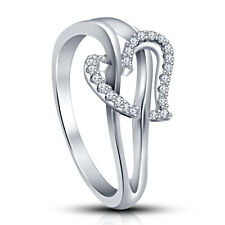 Elegant Look Platinum Plated 925 Silver White CZ Brilliant Heart Shape Ring