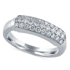 Platinum Plated Round Cut CZ Womens Pure 925 Silver Wedding Engagement Band Ring