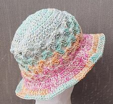 HAND CROCHETED BABY GIRL SUN HAT shower gift 100% cotton summer floppy brim cap