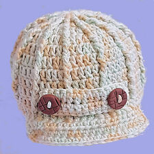 BABY BOY NEWSBOY CAP HAND CROCHETED HAT peaked baseball photoprop multi striped