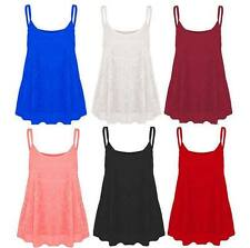 Womens Ladies Plus Size Lace Floral  Cami Strappy Swing Vest Top Flared 8-26