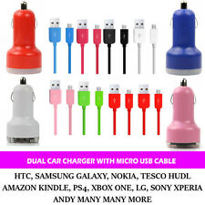 UNIVERSAL 2 IN 1 USB 12-24V DUAL CAR CHARGER WITH 1M  MICRO USB DATA CABLE CHRGR