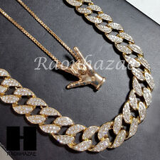 "Men 14k Gold PT I LUV U Finger 15mm 30"" Iced Out Chain / Box Chain Necklace S086"