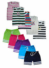 Jisha Fashion Multicolour Boys Slevless Tshirt and Bermuda Set Pack of 5