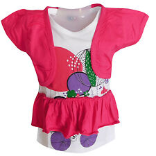 CUTE Girls Designer TOP with Short Sleeve and attached Coati