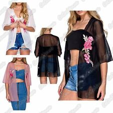 New Ladies Sheer Mesh Floral Embroidered Chiffon Kimono Waterfall Cardigan Shrug
