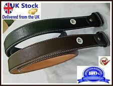 Men,s Genuine 100% Real Leather Belt Snap On Strap Without Buckle Wrinkles Free