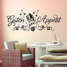 wandtattoo spruch aufkleber wand deko ideen fuer kueche guten appetit kuchen ebay. Black Bedroom Furniture Sets. Home Design Ideas
