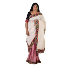 Indo Mood Exclusive Woven Muslin Pure Cotton LightPinkOffWhite Kalamkari Saree