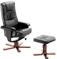 DELUXE HQ PU LEATHER EXECUTIVE CHAIR RECLINER ARMCHAIR WITH FOOT STOOL SWIVEL
