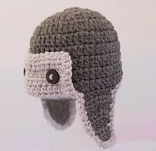 0-2 BABY BOYS HAND CROCHETED AVIATOR PILOT HAT photo prop knit beanie grey gift