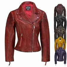 Ladies Women Vintage Style Soft Washed Real Leather Biker Jacket Slim Fit Size