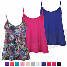Ladies Women Plain Thin Strap Swing Vest Top Short Length Cami Tee Tank Flared