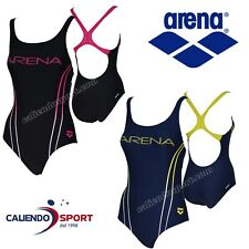 COSTUME INTERO DONNA  Arena 2A393 W BECK ONE PIECE B NUOTO PISCINA MARE NERO BLU