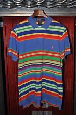 Ralph Lauren Multicolor Stripe Blue/Red/Orange/Green/Yellow Pink Polo Shirt L