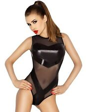 Passion Clover Black Tight Wetlook Shiny PVC Look Teddy/Playsuit Body