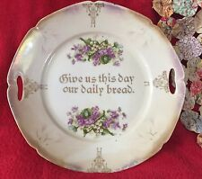 Vintage Iridescent Give Us This Day Our Daily Bread Bavarian Plate Gold Trim