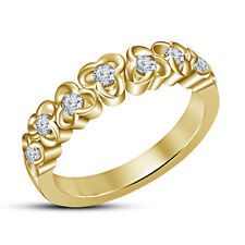 Beautiful Band Ring For Women's In 925 Silver 14K Gold Plated White Round Cut CZ