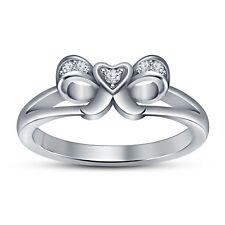 White Platinum Plated 925 Sterling Silver Love Knot White CZ Ring For Ladies