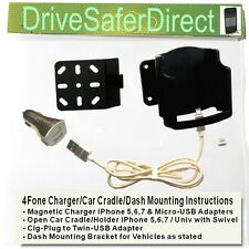 4Fone Magnetic Charger for iPhone 5,6,7 with Car Cradle options for Ford