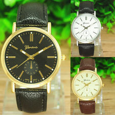 New Men's Quartz Analog Luxury Gold Dial Sport Wrist Watch Leather Bracelet