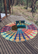 Women Multicolor Printed Round Sunblock Tapestry Blanket Cover-Up Beach Towel