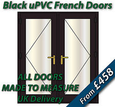 Black uPVC French Doors - BRASS handles, GOLD spacer bars - Made to Measure