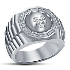 14k White Rhodium Over Pure Sterling Silver Good Looking Men's Bikers Skull Ring