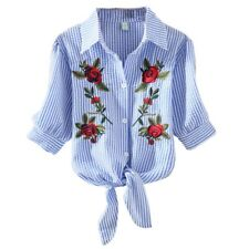 Fashion Women Embroidery Blouse Shirt Casual Short Sleeve T Shirt Tops S-XXL