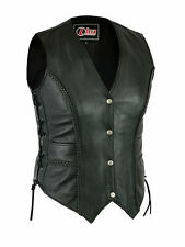LADIES REAL LEATHER LACED UP MOTORCYCLE Biker WAISTCOAT  WOMENS Gilet Vest