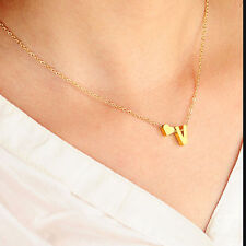 26 Letter Heart Shaped Charm Pendants Necklace Simple Lovers Gift Gold Choker