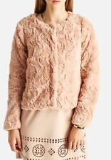 BNWT Vero Moda Short Faux Fur Jacket Rose Size Large 12-14
