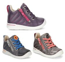 Boys Girls Baby Leather Lace Up Shoes Boots Ecco Walking Black Purple Silver UK