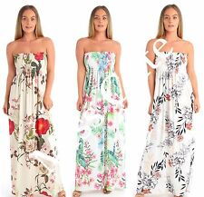 WOMENS LADIES FLORAL LEAF PRINT BOOB TUBE SHEERING BANDEAU TOP SUMMER MAXI DRESS