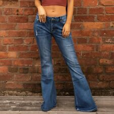 60s 70s Ripped Distressed Blue Faded Bell Bottoms Denim Flares Wide Flared Jeans