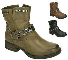 LADIES WOMENS FLAT LOW HEEL ZIP ARMY MILITARY COMBAT BIKER ANKLE BOOTS SIZE