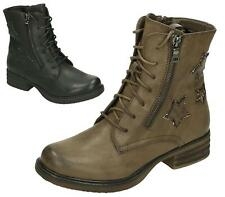 WOMENS LADIES MILITARY COMBAT ARMY LACE UP LOW HEEL FLAT ANKLE BOOTS SIZE